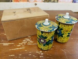 Vintage Japanese Kutani A Pair Of Tea Cups With Lids And Original Wooden Box