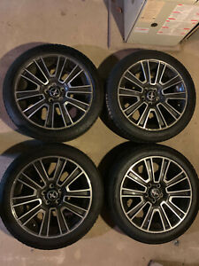5 spoke Mustang Machined And Charcoal Alloy Factory Wheel And Michelin Tire Set