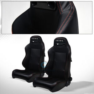 For Volkswagen Tr Blk Pvc Leather Red Stitch Reclinable Racing Seats slider Pair
