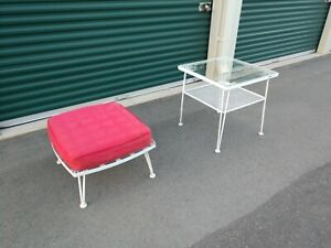 Vintage Woodard Outdoor Metal Ottoman And Glass Top Table Pincrest