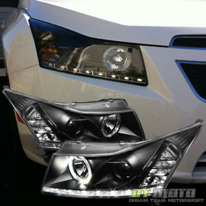 Black 2011 2016 Chevy Cruze Drl Led Strip Projector Halo Headlights Lamps 11 16