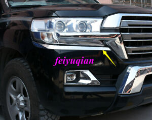 Front Headlight Eyebrows Eyelids Cover Trim For Toyota Land Cruiser Lc200 16 19