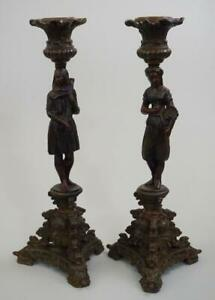 Victorian Orientalist Cold Painted Spelter Candlesticks