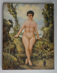 Victorian Freak Show Nude Hermaphrodite Oil On Canvas