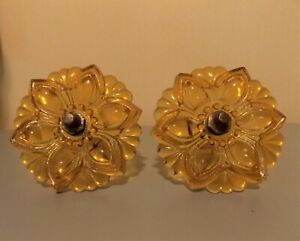 2 Amber 4 1 4 Inch Vintage Pressed Glass Curtain Tie Backs