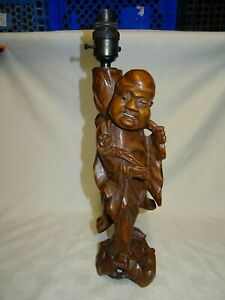Vintage 12 Hand Carved Chinese Root Wood Lamp Base Figure Of An Imortal