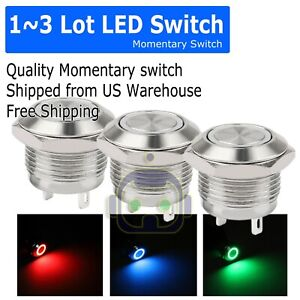 1 3pcs Led Metal Momentary Push Button Switch 4pin 12mm 4 5 12v Red green blue
