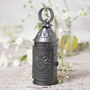 Revere Small Punched Antiqued Tin Candle Lantern W Candle