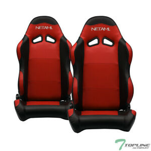 Topline For Bmw Buick 2x Sp Pvc Leather Reclinable Racing Seats Slider Blk Red