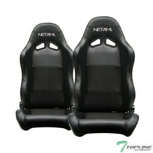 Topline Universal 2x Sp Pvc Leather Stitch Reclinable Racing Seats Slider Black