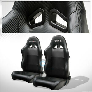 For Gmc Honda Sp Black Pvc Leather Stitch Reclinable Racing Seats slider Pair