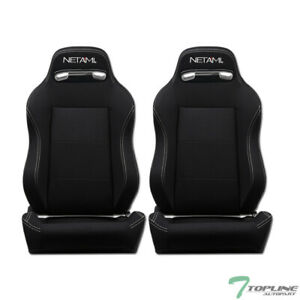 Topline Universal 2x T r Woven Fabric White Stitch Racing Seats slider Black