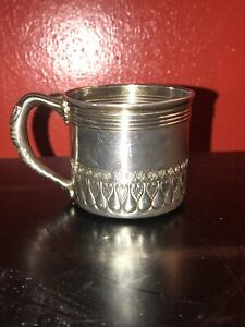 Antique 19th C Gorham Sterling Silver Childs Baby Cup Mug Catholic 4025 Shrimp