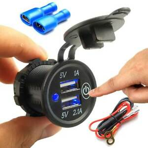 Car Motorcycle Atv Cigarette Lighter Adapter Touch Switch Dual Usb Socket Outlet