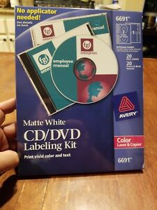 Avery 6691 Cd dvd Labeling Kit Matte White Labels 100 Labels