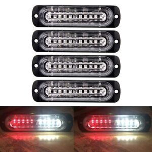 4pcs 10 Led Strobe Lights Emergency Flashing Warning Beacon Red White 12v 24v