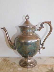 Silver On Copper Silver Plated Coffee Pot Signed 10 Lidded