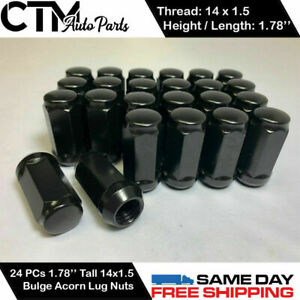 24pc Black 14x1 5 Wheel Lug Nuts Bulge Acorn 1 78 Tall Fit Ford Chevy Gmc More