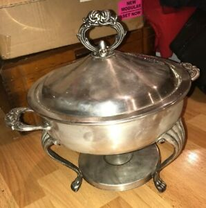 Vintage Raimond Silverplate Footed Warmer Food Chafing Dish Lid