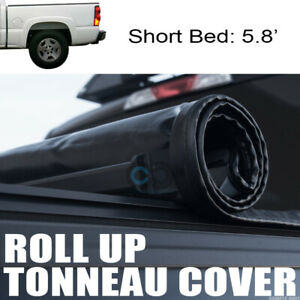 Roll up Soft Tonneau Cover 04 07 Chevy Silverado gmc Sierra Crew Cab 5 8 Ft Bed