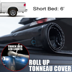 Roll Up Soft Tonneau Cover 16x Led Lights 82 93 Chevy S10 S15 Sonoma 6 Truck Bed