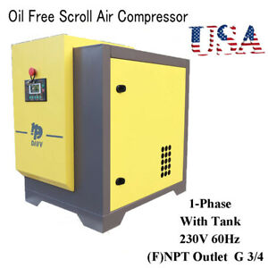 5hp 230v 60hz Oil Free Scroll Air Compressor With 18l Tank Single Phase Vsd Us