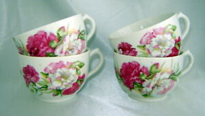 Lot 4 Antique Porcelain Pink Floral Tea Cups Made In Germany Backstamp