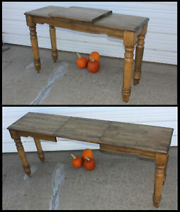 Unusual Rare Antique 6 Solid Wood Library Office Sofa Table With Leaf Extension