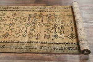 Vintage Geometric 14 Ft Runner Muted Distressed Oriental Rug Hand Knotted 3x14