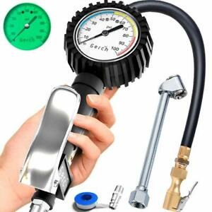 Tire Inflator With Pressure Gauge And Dual Head Air Chuck For Air Compressors