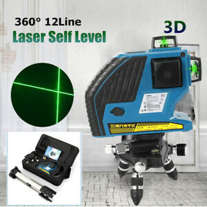 360 Rotary Laser Level Self levelling Cross Line Measuring Tripod Stand case Us