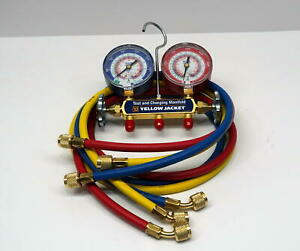 Yellow Jacket Manifold Gauge 42004 With 60 Ryb Hoses Standard Fitting For R410a
