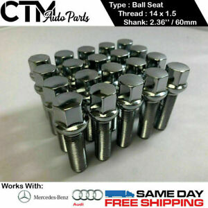 20 Pcs Chrome 14x1 5 Ball Seat Lug Bolts 2 36 60mm Thread Fit Audi Mercedes