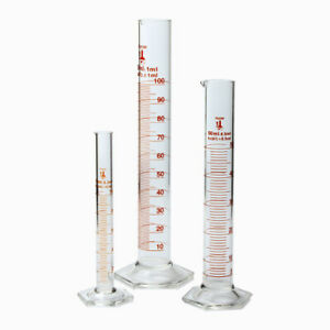 Set Of 3 Glass Graduated Cylinders With 10ml 50ml And 100ml case 4