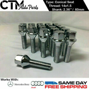 20 Pc Chrome 14x1 5 Conical Seat Lug Bolts 2 36 60mm Thread Fit Audi Mercedes