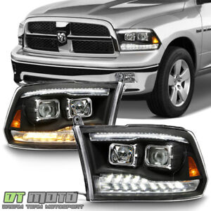 2009 2018 Dodge Ram 1500 2500 3500 Black Led Drl turn Dual Projector Headlights