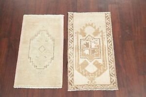 Pack Of 2 Muted 2x3 Vintage Oushak Turkish Oriental Area Rug Hand Knotted Wool