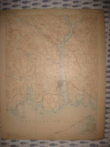Antique 1903 New London Waterford Montville Groton Connecticut Topographical Map