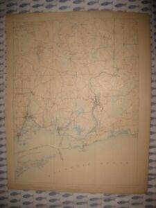 Antique Stonington Mystic Connecticut Westerly Rhode Island Topographical Map