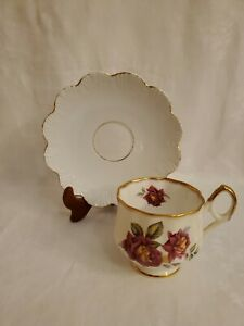 Vintage Rosina Tea Cup Saucer Bone China England Red Yellow Roses Scalloped