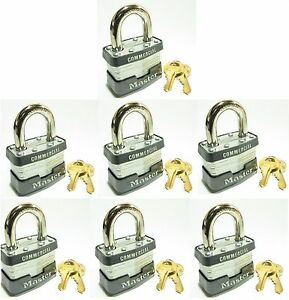 Lock Set By Master 3ka lot 7 Keyed Alike Commercial Steel Laminated Padlocks
