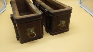 Antique Singer Treadle Sewing Machine 2 Sets Of 1 Drawers Ornate Pulls