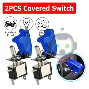 2X Blue Cover LED Toggle Switch Racing SPST ON/OFF 20A ATV 12V New For Car Truck
