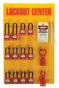 Zing 7115 Lockout Station filled 12 Padlocks