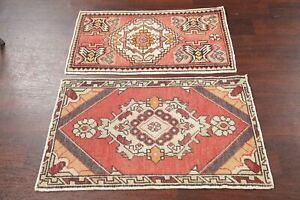 Deal Of 2 Vintage Turkish Oushak Oriental Rug Hand Knotted Kitchen Carpet 2 X3