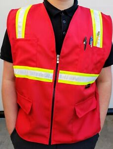 Fx Red Safety Vest With 4 Front Pocket Small To 3xl