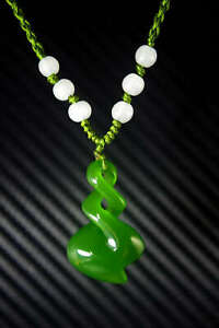China Natural Bright Green Jade Nephrite Hand Carved Spiral Pendant Necklace