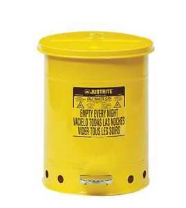 Justrite 09301 Oily Waste Can 10 Gal steel yellow