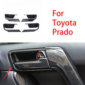 For Toyota Prado Fj150 2010 19 Carbon Fiber Interior Door Handle Bowl Cover Trim