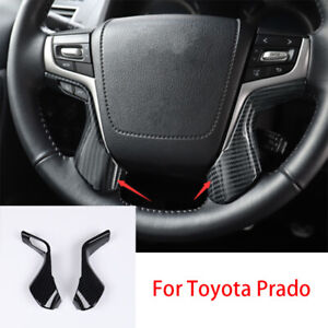 For Toyota Prado Fj150 2010 2019 Carbon Fiber Interior Steering Wheel Cover Trim